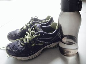 walking shoes with bottle