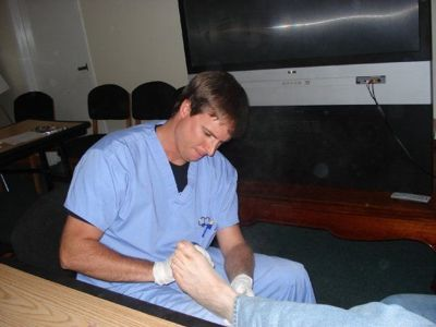 podiatrist at work
