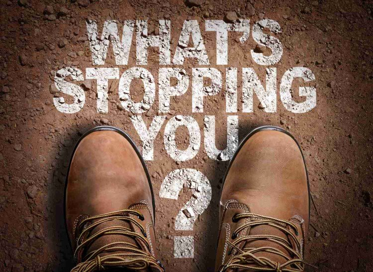image of shoes ready for walking and question - what is stopping you?